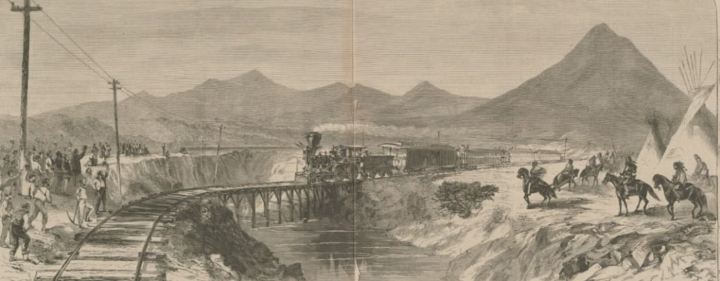 Completion of the Pacific Railroad, May 10, 1869 — THE GREAT LINK CONNECTING EUROPE WITH ASIA ACROSS THE AMERICAN CONTINENT (Harpers Weekly, via Calisphere)